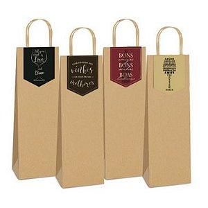 Sacola de Papel Kraft para Vinho com Tag - 35x13x8 - 10 unidades - Cromus - Rizzo Confeitaria