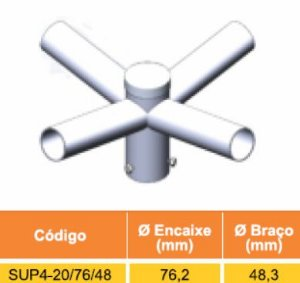 4 - KIT POSTE 5 METROS + 4 LUMINÁRIAS SOLAR LED 150W + SUPORTE P/ 4 LUMINÁRIAS
