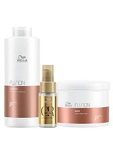 Wella Kit Fusion Shampoo 1LT + Máscara 500ML + Oil Reflection Tratamento 30ML