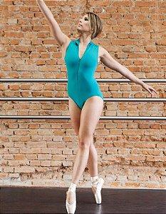Collant de Ballet Regata Adulto Gola Alta e Zipper Capezio CAP202
