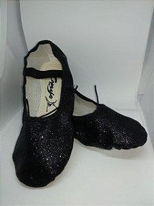Sapatilha de Ballet Preta Meia Ponta em Korino com Glitter Capezio Ref 002kgb