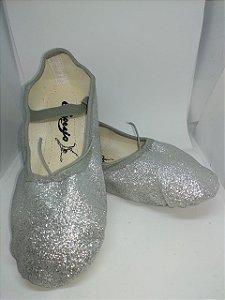 Sapatilha de Ballet Prata Meia Ponta em Korino com Glitter Capezio Ref 002kgb