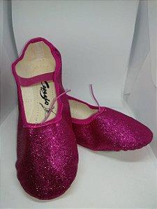 Sapatilha de Ballet Pink Meia Ponta em Korino com Glitter Capezio Ref 002kgb