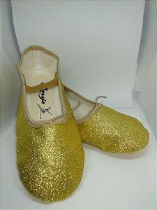 Sapatilha de Ballet Dourada Meia Ponta em Korino com Glitter Capezio Ref 002kgb