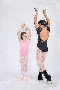 Collant de Ballet Infantil Meia Manga com Renda Capezio Ref CL110