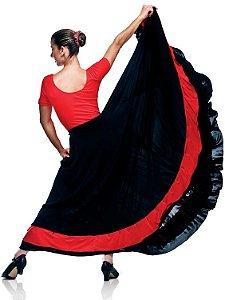 Saia para Flamenco Preto com Vermelho Adulto em Liganete Capezio Ref 1092