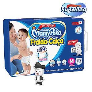 Kit Super Bag FRALDA CALÇA  Descartável Mamypoko - M - 76 Unidades + 01 Boneco Poko-Chan