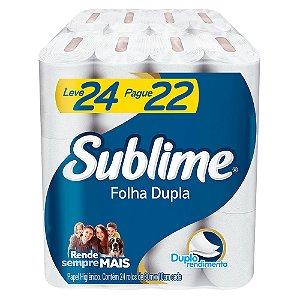 PAPEL HIGIENICO FOLHA DUPLA SUBLIME LEVE 24 PAGUE 22 ROLOS DE 30M