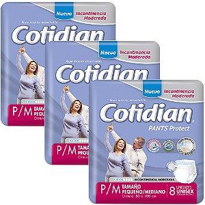 Kit 3 Fraldas ROUPA ÍNTIMA ADULTA COTIDIAN PANTS P/M - 24 UNIDS