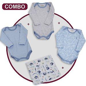 Combo Seu Bebe Fresquinho - Bodys + Fraldas de Boca - Cor Azul