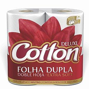 PAPEL HIGIÊNICO COTTON 04 ROLOS FOLHA DUPLA NEUTRO - 30M