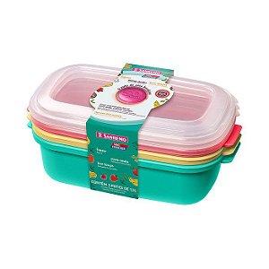 Conjunto 03 Potes -1,3 litros Plástico-Cores Verde/Amarelo/Vermelho -SANREMO