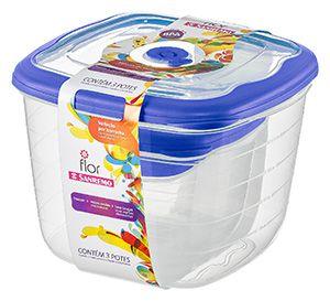 Conjunto 03 Potes 5 litros+1,6 litros+ Quadrado Plástico-Cor Azul-SANREMO