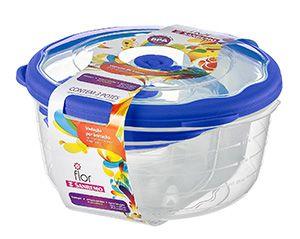 Conjunto 03 Potes-3,2 litros+1,1 litros+290ml Redondo Plástico-Cor Azul-SANREMO