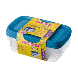Conjunto 03 Potes-785 ml Retangular Plástico-Cor Azul-SANREMO