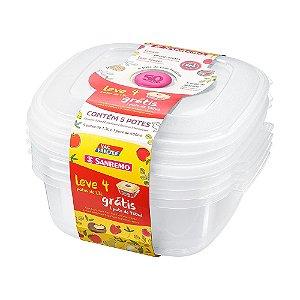 Conjunto 04 Potes-1,3 Litros +  01 pote 480ml Plástico-Cor Branca-SANREMO