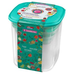 Conjunto 05 Potes-7,65 litros+5,1 litros+3,28 litros+1,7 litros+ 1,05 litros Quadrado Plástico-SANREMO
