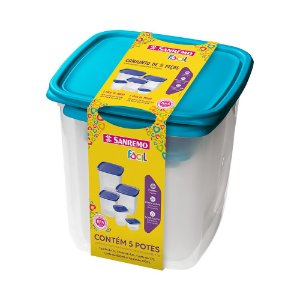 Conjunto de 5 Potes-7 litros+4,5 litros+1,7 litros+800 ml+200ml-Plástico-Cor Azul-SANREMO