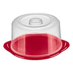 Porta Bolo Plástico-Cor Vermelha-SANREMO