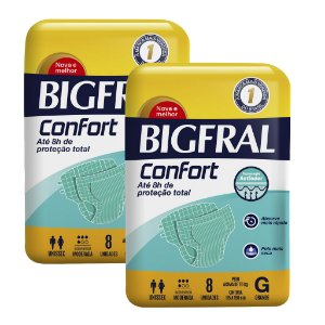 Kit 02 Fraldas BIGFRAL CONFORT GD 16 Unidades