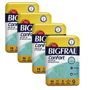 Kit 04 Fraldas BIGFRAL CONFORT GD 32 Unidades