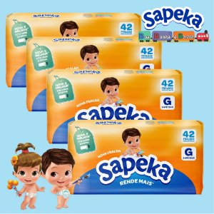 Kit Fralda Descartáveis SAPEKA - GD - 168 Unids - Leve 4 / Pague 3