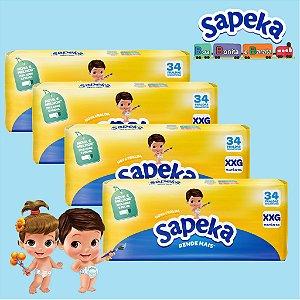 Kit Fralda Descartáveis SAPEKA - XXG - 136 Unids - Leve 4 / Pague 3