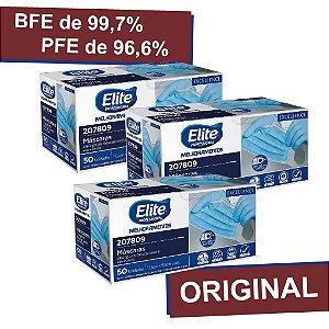 Kit Máscara Cirúrgica Elite Professional Descartável Tripla com Elástico 150 Und