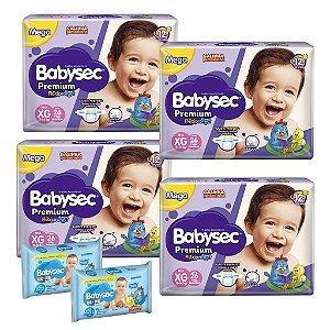 Kit 04 Fraldas BabySec GALINHA PINTADINHA Premium -M-136 unids + 02 Lenço Umedecido 184Unids
