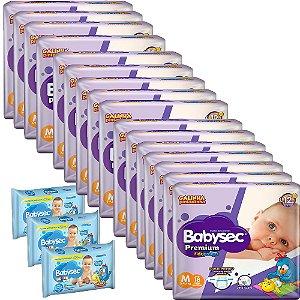 Kit 16 Fraldas BabySec GALINHA PINTADINHA Premium -M- 288 unids + 03 Lenço Umedecido 276 Unids