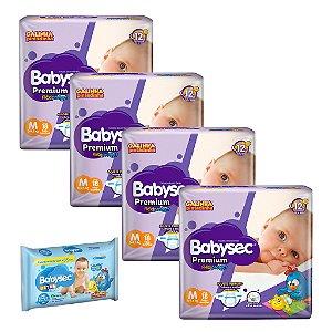 Kit 04 Fraldas BabySec GALINHA PINTADINHA Premium -M-72 unids + 01 Lenço Umedecido 92 Unids