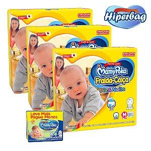 Kit 03 Hiper Bag FRALDA CALÇA  Descartável DIA&NOITE MamyPoko - M -174 Unidades + 200 lenços Umedecidos