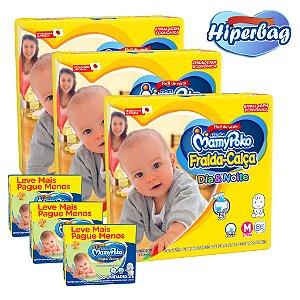 Kit 03 Hiper Bag FRALDA CALÇA  Descartável DIA&NOITE MamyPoko - M -174 Unidades + 600 lenços Umedecidos