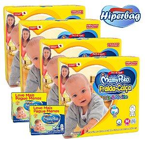 Kit 04 Hiper Bag FRALDA CALÇA  Descartável DIA&NOITE MamyPoko - M -232 Unidades + 400 lenços Umedecidos
