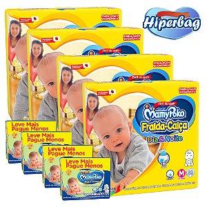 Kit 04 Hiper Bag FRALDA CALÇA  Descartável DIA&NOITE MamyPoko - M -232 Unidades + 800 lenços Umedecidos