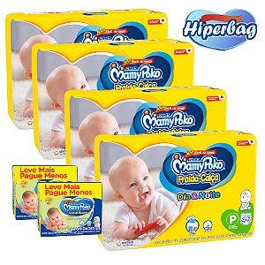 Kit 04 Hiper Bag FRALDA CALÇA  Descartável DIA&NOITE MamyPoko - P -184 Unidades + 400 lenços Umedecidos