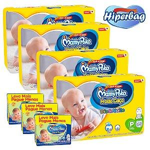 Kit 04 Hiper Bag FRALDA CALÇA  Descartável DIA&NOITE MamyPoko - P -184 Unidades + 600 lenços Umedecidos
