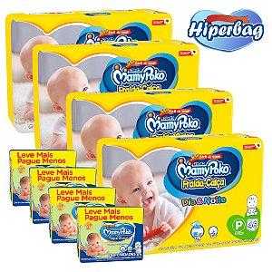 Kit 04 Hiper Bag FRALDA CALÇA  Descartável DIA&NOITE MamyPoko - P -184 Unidades + 800 lenços Umedecidos