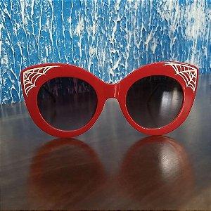 Óculos Escuros Gatinho Grande Teia de Aranha Customizado Collab Sandro Fumaça