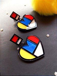 Brinco Mondrian Art 60s Coração