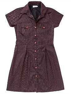 Chemise de Bolinhas Vestido Camisa Retrô