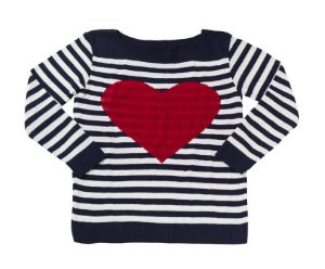 Blusa de tricot listras e coração navy em 2 cores