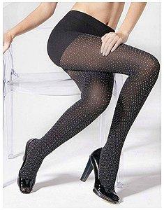 Meia-calça preta com bolinhas brancas