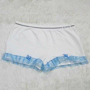 Shorts Calcinha Branco com Lacinho e Renda Pin Up Retrô Rockabilly