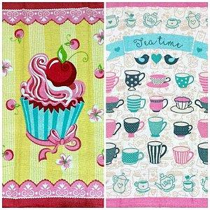 Pano de Prato Cupcake Xícaras Retrô Vintage Felpudo