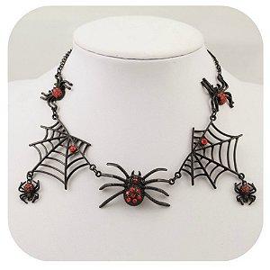 Colar Teia de Aranha com Strass Vermelho Gothic Dark Halloween Horror