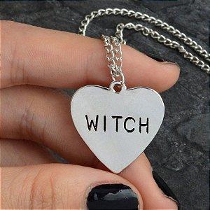 Colar Witch Coração Prata Gótico Dark Halloween Bruxa