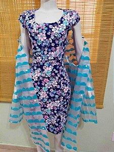 Vestido Tulipa Floral Azul Sarja Retrô com Bolsos