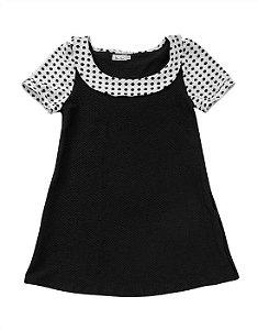 Vestido Boneca Linha A de Bolinha Preto e Branco Retrô