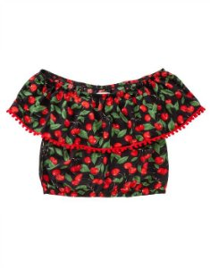 Top Cropped Ciganinha Cerejas Pin Up Retrô Pompom
